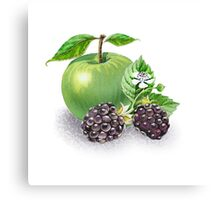Green Apple And Blackberries Canvas Print
