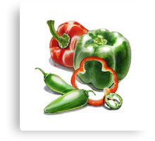 Bell Peppers With Jalapeno  Canvas Print