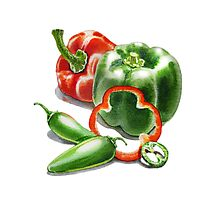 Bell Peppers With Jalapeno  Photographic Print