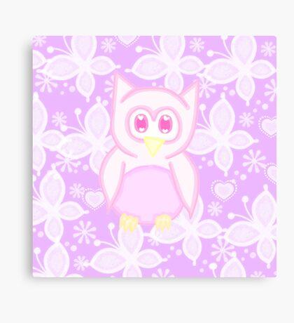 Kawaii pink owl  Canvas Print