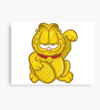 Gold Lucky Garfield Cat Canvas Print