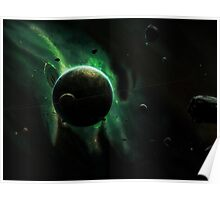 A Green Planet Surrounded by Moons Poster