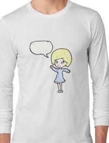 pretty blond girl cartoon Long Sleeve T-Shirt