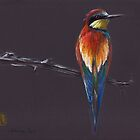 """The European""  original mixed media painting of a European Bee-eater bird by Rebecca Rees"
