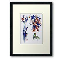 Blossom - Mixed media hummingbird watercolor painting Framed Print