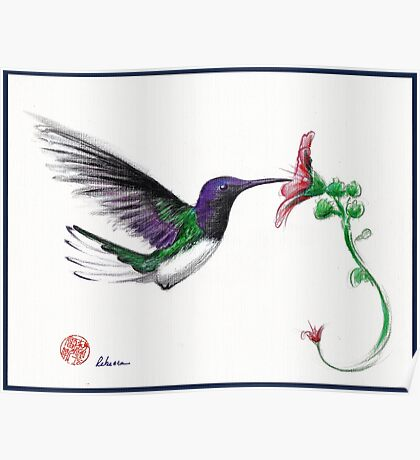 Precious - Hummingbird mixed media painting/drawing Poster