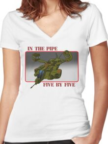 On an exspress elevator to hell! Women's Fitted V-Neck T-Shirt