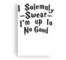 I Solemnly Swear I'm Up To No Good, Black Ink | Women's Harry Potter Quote, Deathly Hallows Canvas Print