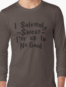 I Solemnly Swear I'm Up To No Good, Black Ink | Women's Harry Potter Quote, Deathly Hallows Long Sleeve T-Shirt