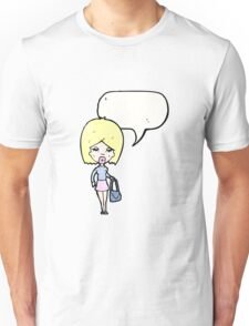 cartoon blond woman talking Unisex T-Shirt