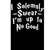 I Solemnly Swear I'm Up To No Good, White Ink | Women's Harry Potter Quote, Deathly Hallows Photographic Print