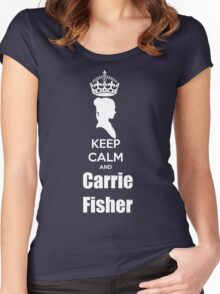 Keep calm and Carrie Fisher Women's Fitted Scoop T-Shirt