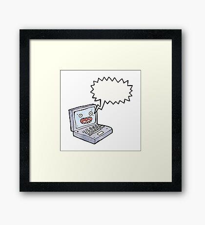 cartoon laptop computer Framed Print