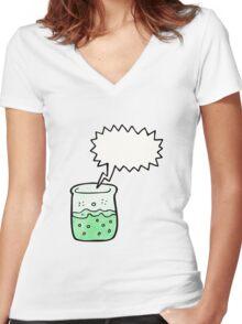cartoon chemical beaker Women's Fitted V-Neck T-Shirt