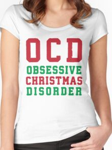 OCD Obsessive Christmas Disorder, Red and Green Ink | Women's Christmas Sweater, Ugly Christmas Sweater, Christmas Gift, Obsessive Compulsive Women's Fitted Scoop T-Shirt