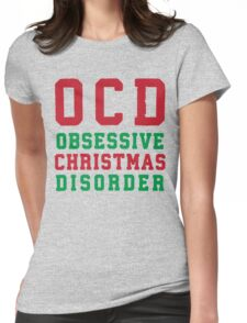 OCD Obsessive Christmas Disorder, Red and Green Ink | Women's Christmas Sweater, Ugly Christmas Sweater, Christmas Gift, Obsessive Compulsive Womens Fitted T-Shirt
