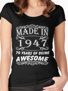 Special Gift For 70th Birthday - Made in 1947 Awesome Shirt Women's Fitted Scoop T-Shirt