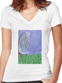 Weeping Willow Women's Fitted V-Neck T-Shirt