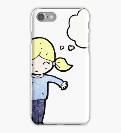 cartoon happy blond girl, iPhone Case/Skin