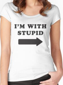 I'm With Stupid / I'm With Stupider 2/2, Black Ink | Funny Best Friends Shirts, Bff, Besties Stuff Women's Fitted Scoop T-Shirt