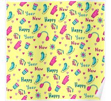 Happy New Year pattern Poster