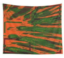Orange/Green collage Wall Tapestry