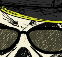 Scary skull in fashionable glasses and cap Sticker