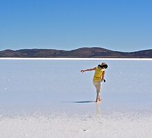 Wading in the shallows of Lake Gairdner by Ian Berry