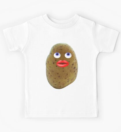 Funny Potato Cute Character With Blue Eyes Kids Tee