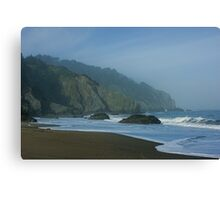 San Francisco Fog - China Beach Soft Foam Rough Rocks Canvas Print