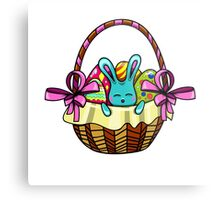 easter bunny sitting in a basket with Easter eggs Metal Print