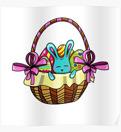 easter bunny sitting in a basket with Easter eggs Poster