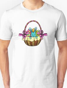 easter bunny sitting in a basket with Easter eggs Unisex T-Shirt