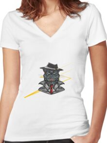 Corporate Cat Women's Fitted V-Neck T-Shirt