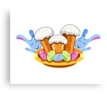 easter cakes with bunny and eggs Canvas Print