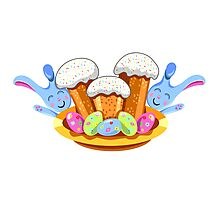 easter cakes with bunny and eggs Photographic Print