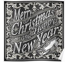 Vintage Greeting Card Text on a Blackboard  Poster