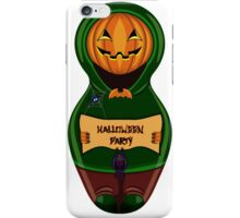 Halloween pumpkin with the poster in hands in style of a nested doll iPhone Case/Skin