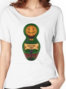 Halloween pumpkin with the poster in hands in style of a nested doll Women's Relaxed Fit T-Shirt