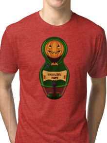 Halloween pumpkin with the poster in hands in style of a nested doll Tri-blend T-Shirt