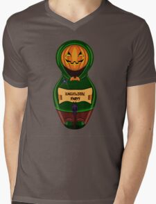 Halloween pumpkin with the poster in hands in style of a nested doll Mens V-Neck T-Shirt