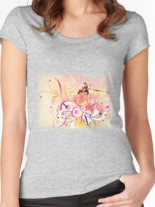 Summer floral girl Women's Fitted Scoop T-Shirt
