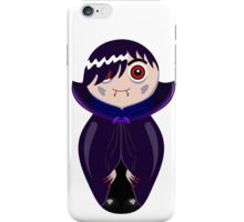 Nested doll in Dracula's suit in a violet raincoat iPhone Case/Skin