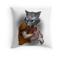 Trick or Treaters - Wolf at the Door Throw Pillow