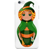 Nested doll in a suit of the witch a Halloween in a green raincoat with a sweeper and a potion in hands iPhone Case/Skin