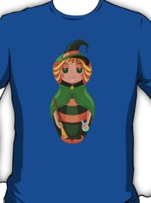 Nested doll in a suit of the witch a Halloween in a green raincoat with a sweeper and a potion in hands T-Shirt