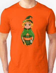 Nested doll in a suit of the witch a Halloween in a green raincoat with a sweeper and a potion in hands Unisex T-Shirt
