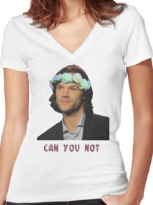 can u not // jared padalecki Women's Fitted V-Neck T-Shirt