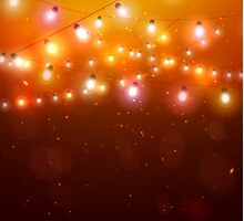 Colourful Glowing Christmas Orange Lights. Photographic Print