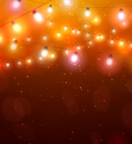 Colourful Glowing Christmas Orange Lights. Sticker